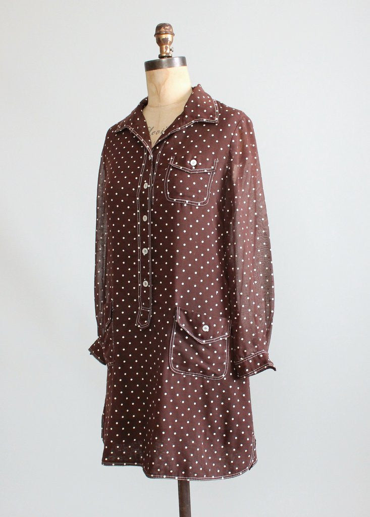 Vintage 1960s MOD Brown Polka Dot Mini Dress