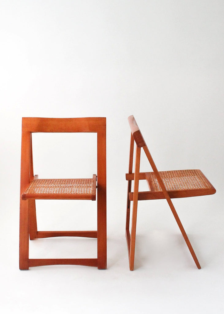 Vintage Mid-Century Wood and Cane Folding Chair