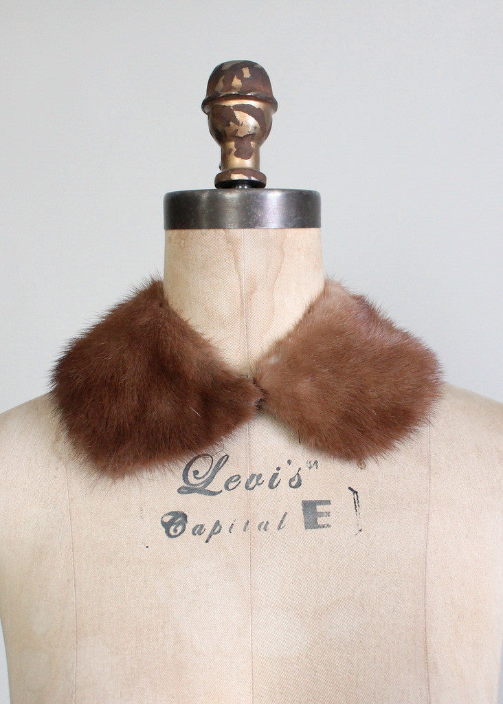 Vintage 1960s Brown Mink Fur Collar