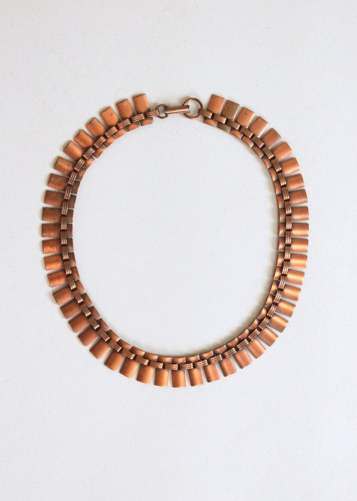 Vintage 1960s Modernist Copper Choker Necklace