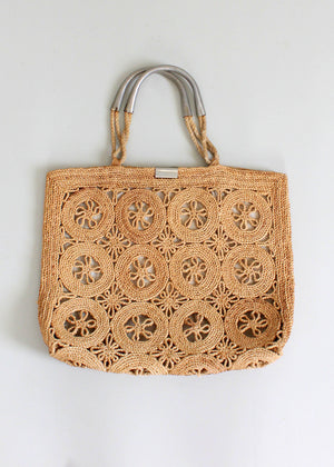 Vintage 1960s Italian Summer Straw Beach Tote