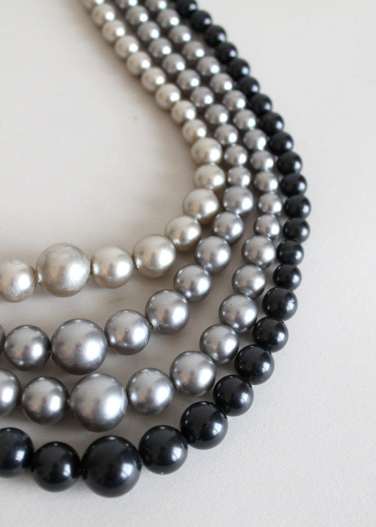 Vintage 1960s Shades of Grey Multi Strand Necklace