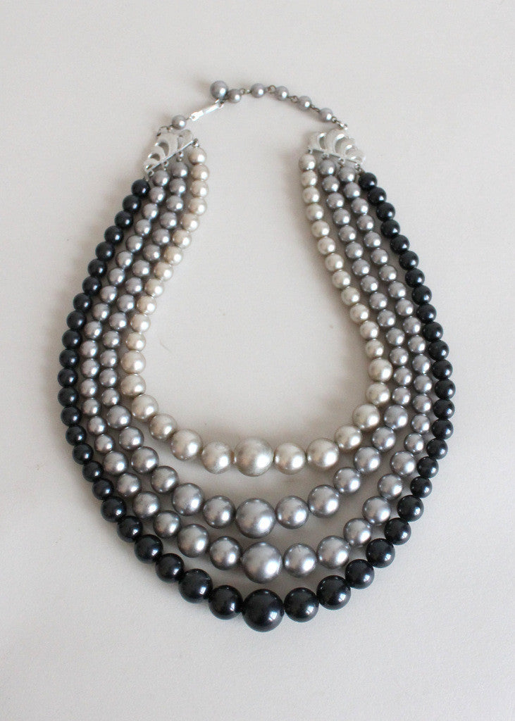 1960s Grey Multi Strand Necklace