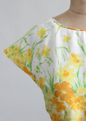 Vintage 1960s Yellow Floral Nylon Day Dress