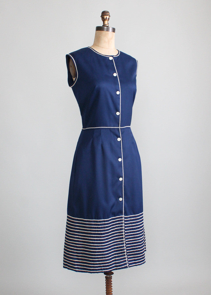 Vintage 1960s Pat Premo Navy Cotton Day Dress