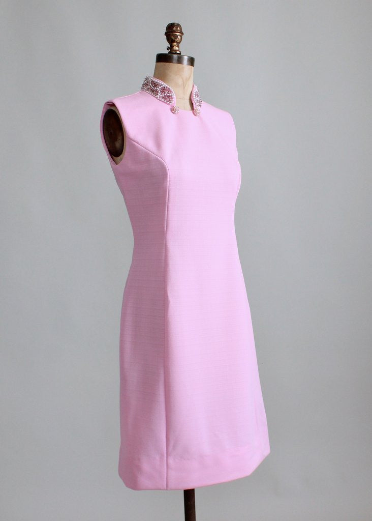Vintage 1960s MOD Beaded Collar Pink Party Dress