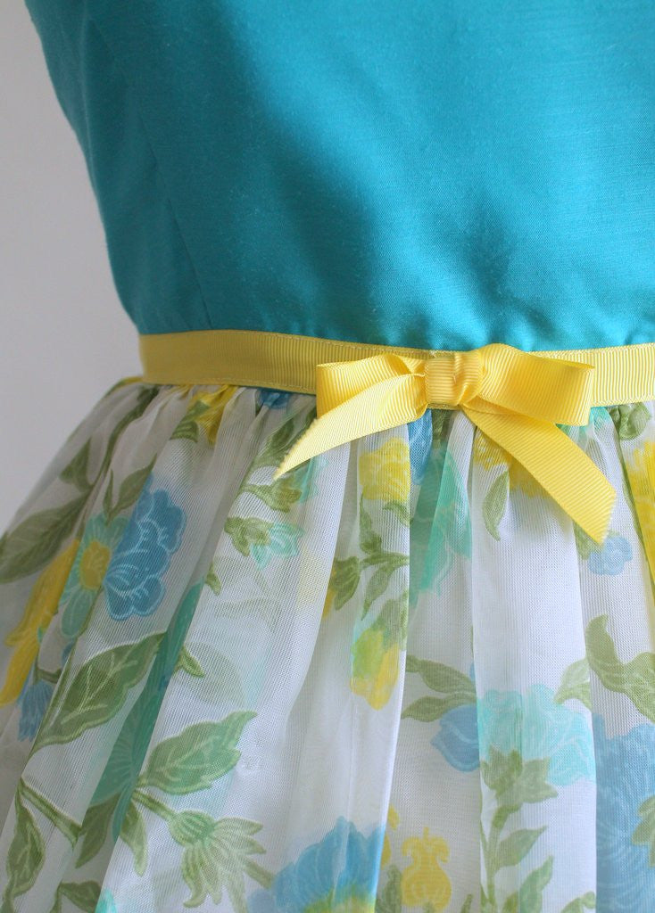 Vintage 1960s Blue and Yellow Summer Party Dress