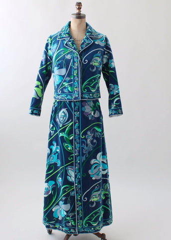 Vintage 1960s Pucci Floral Velvet Jacket and Skirt Set