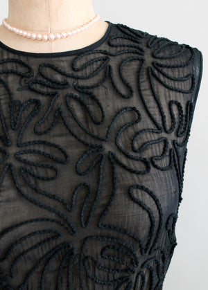 Vintage 1950s Sheer Black Soutache Dress