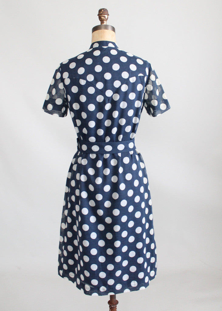 Vintage 1960s Rona Navy Polka Dot Shirt Dress