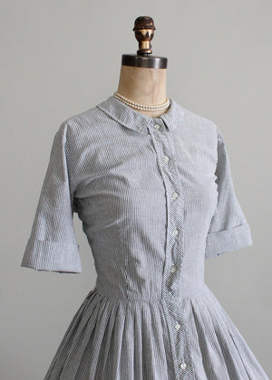 Vintage 1960s Grey and White Seersucker Dress