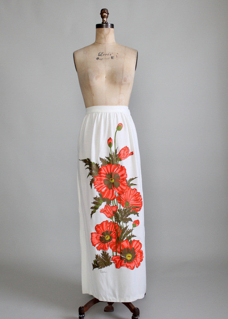 Vintage Late 1960s Shaheen Floral Maxi Skirt