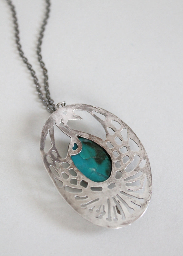 Vintage 1960s Silver and Turquoise Peacock Pendant Necklace