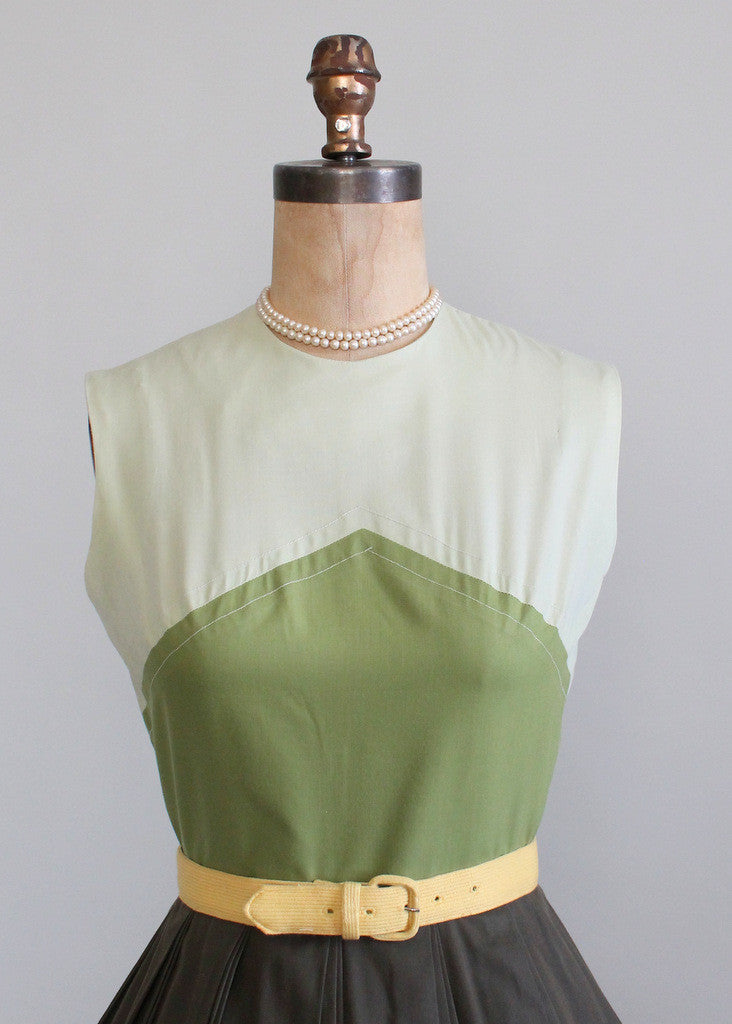 Vintage 1960s Sue Brett Green Color Block Day Dress