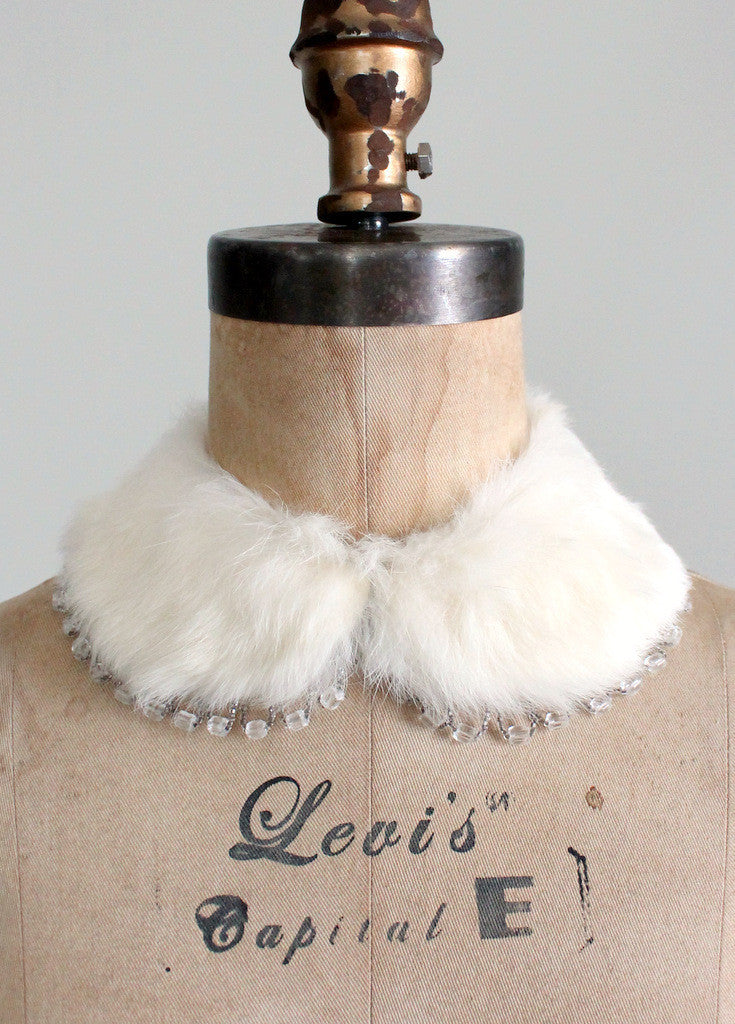 Vintage 1950s White Fur and Beaded Collar
