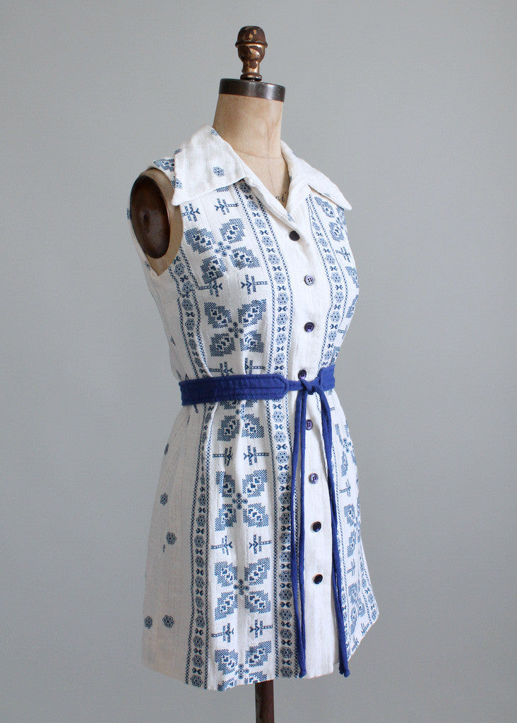 Vintage 1960s Blue and White Belted Tunic