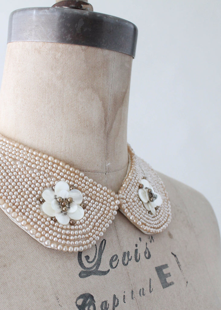 Vintage 1950s Pearl and Flower Beaded Sweater Collar