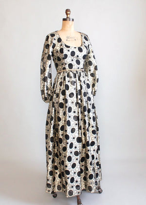 Vintage 1960s Black and Gold Lame Maxi Party Dress