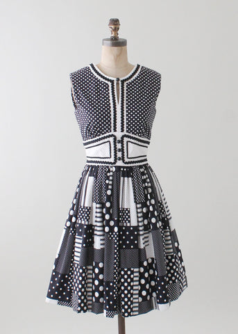 Vintage 1960s Black and White Patchwork Dress