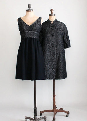 Vintage 1960s Black Lurex and Crepe Party Dress and Matching Coat