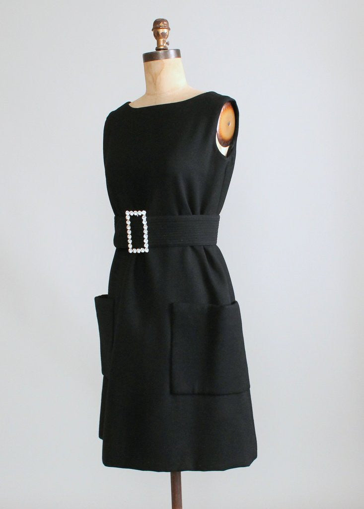 Vintage 1960s Black Wool MOD Cocktail Dress
