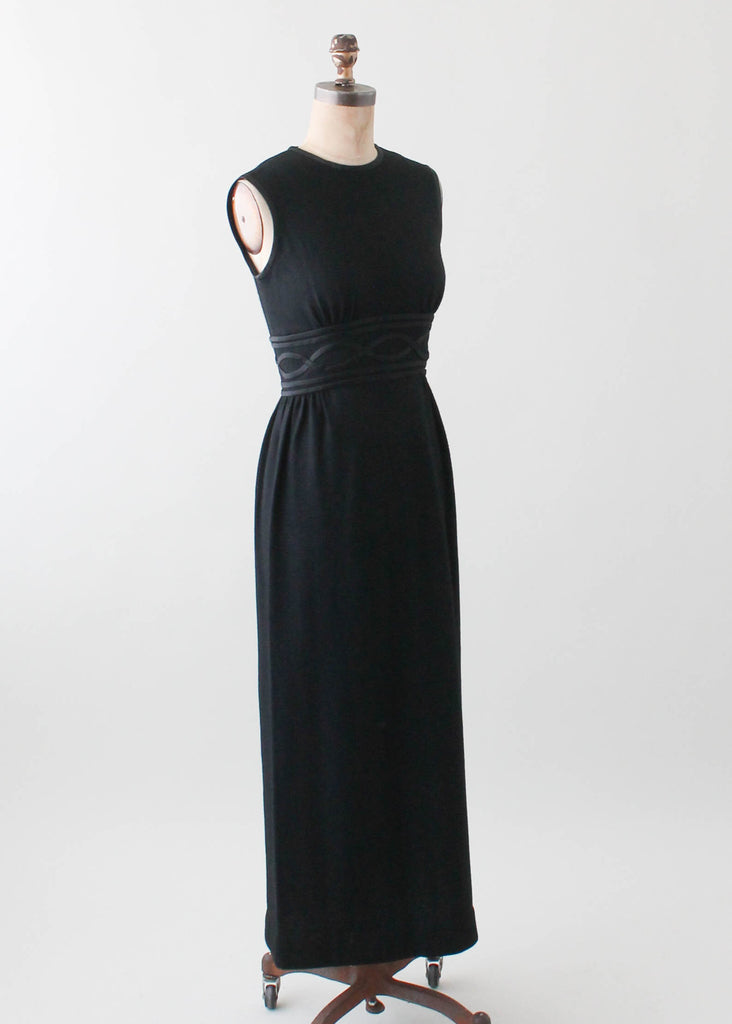 Vintage 1960s Black Wool Column Dress