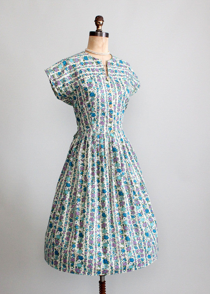 1960s floral cotton day dress
