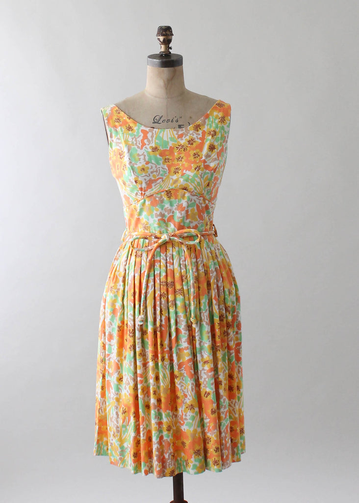 Vintage 1960s Green and Orange Floral Cotton Day Dress