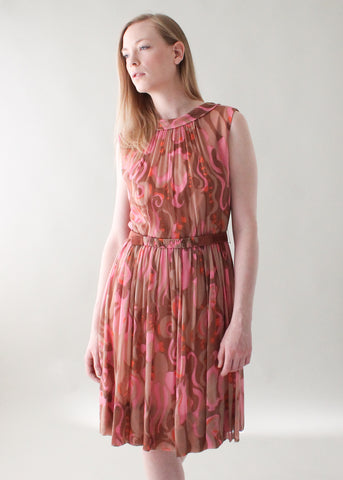 Vintage 1960s Abstract Chiffon Party Dress