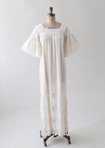 Vintage 1960s Muslin Cotton and Lace Mexican Dress