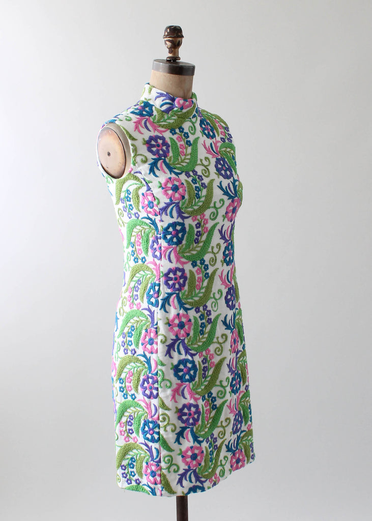 Vintage 1960s Crewel Embroidered Day Dress