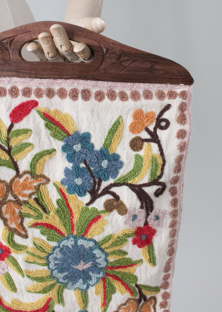 Vintage 1960s Crewel Embroidered Purse with Wood Handles