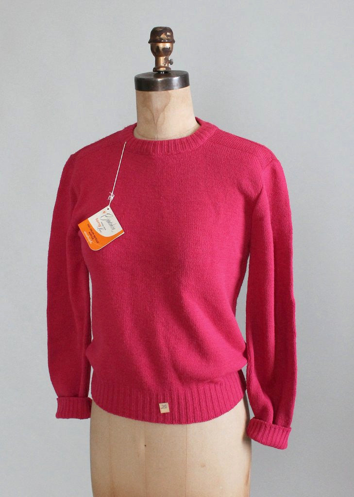 Vintage 1960s Vibrant Pink Crewneck Sweater Deadstock