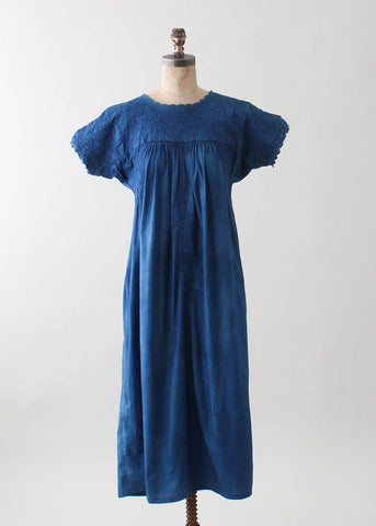 Vintage 1960s Indigo Dyed Embroidered Mexican Dress