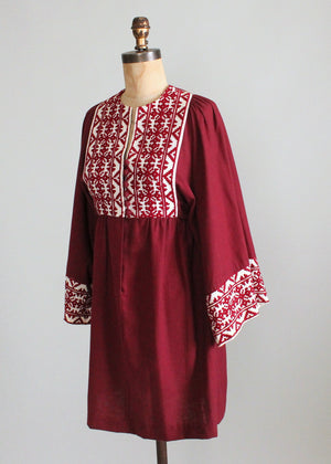 Vintage 1960s Embroidered Burgundy Cotton Hippie Dress