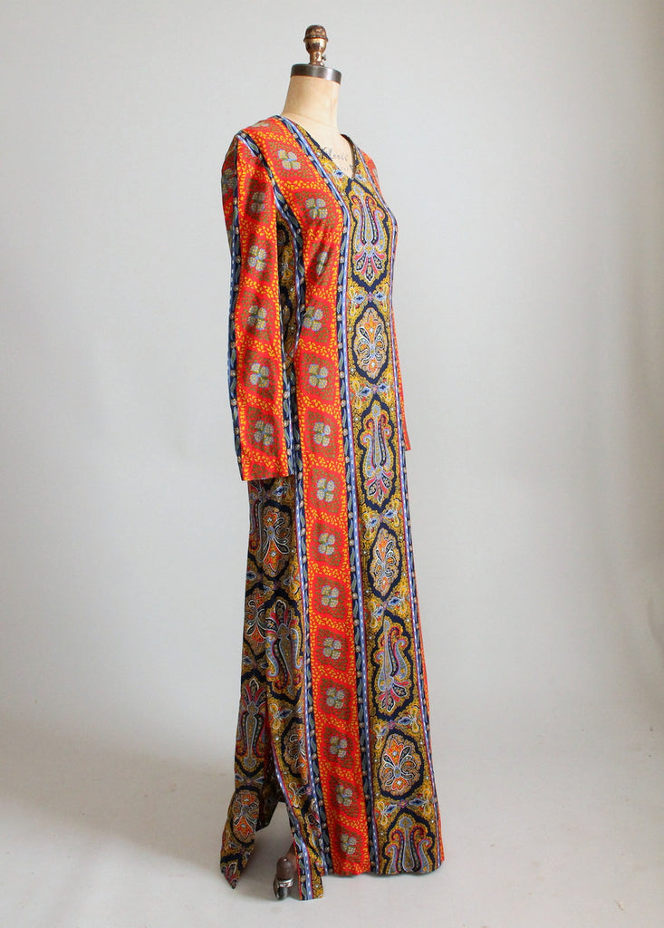 Vintage 1960s Colorful Paisley Print Caftan Dress