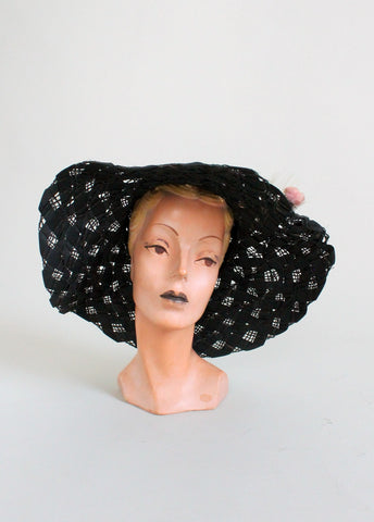 Vintage 1960s Thistle Black Floppy Hat