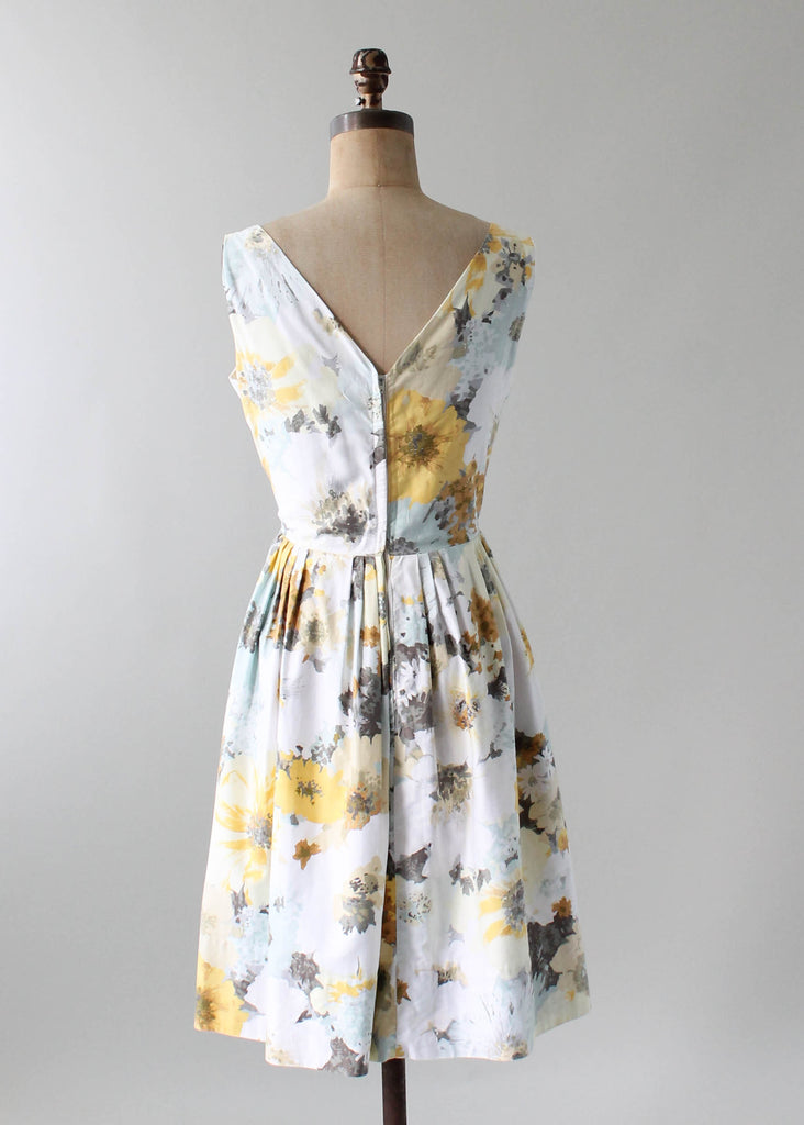 Vintage 1960s Watercolor Floral Print Day Dress Raleigh
