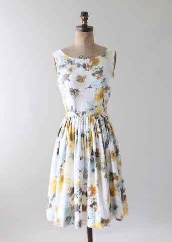 Vintage 1960s Watercolor Floral Print Day Dress