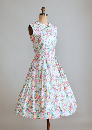 Vintage Early 1960s Shanghai Garden Floral Sundress