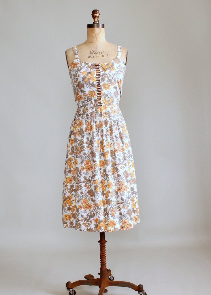 Vintage 1960s Floral Lattice Sundress