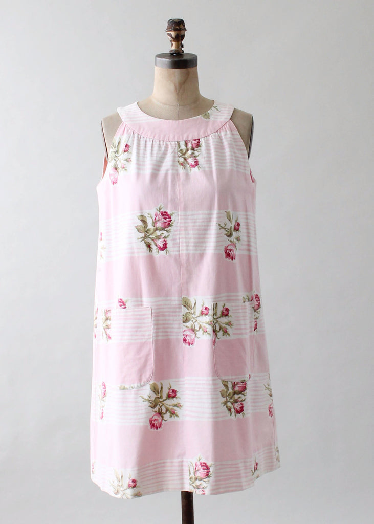 Vintage 1960s Roses and Stripes Cotton Trapeze Dress