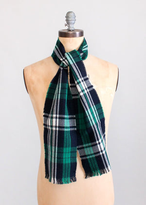 Vintage 1960s Green and Blue Plaid Scarf