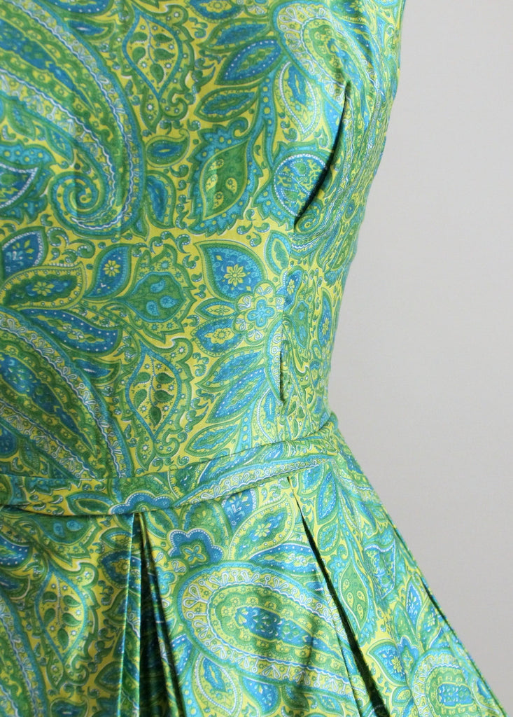 Vintage Early 1960s Teal and Yellow Paisley Day Dress