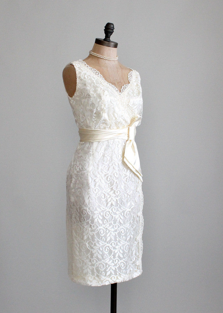 Vintage 1960s Lace Wiggle Wedding Dress