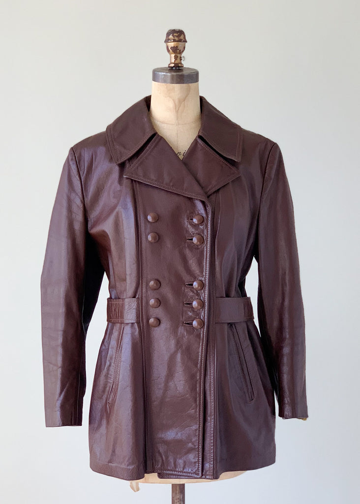 Vintage 1960s Leather Car Length Trench Coat