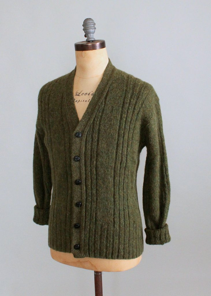 Chest size 40 Inch. Vintage 1960/'s Olive Green Wool High Neck Cable Pattern Cardigan UK Size 1416