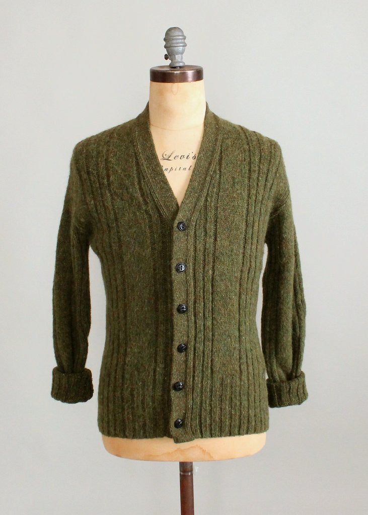 Vintage 1960s Mens Green Cable Knit Cardigan Raleigh Vintage