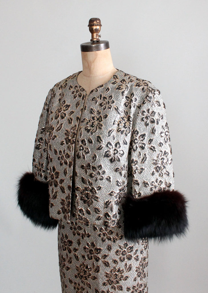Vintage 1960s Metallic Brocade Jacket and Skirt Suit
