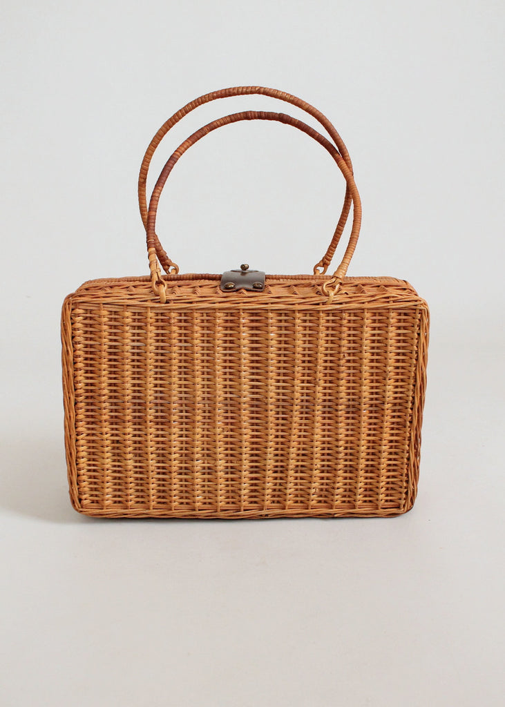 Vintage 1960s Door Knocker Wicker Statement Purse